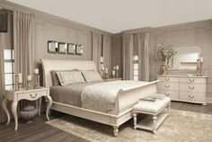 Capture the classically chic look and romantic nature of French style with this elegant Aurora sleigh bed. The bed offers a traditional sleigh shape, enhanced with gentle turnings and sophisticated accent molding. Poplar solids and maple veneer construction ensure authentic craftsmanship, while the light distressing of the Vintage White finish adds antique charm. A signature piece in any bedroom, this sleigh bed creates an atmosphere of time-worn character and quiet elegance.