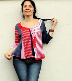 Striped polo's  recycled blouse by jamfashion on Etsy, $88.00
