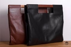 LESS is BAG Brown BIG Deep brown leather handbag by maisondressage