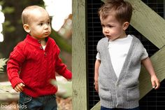 "Boys: ""Andrew"" cable knit sweater and ""Walter"" cardigan vest. Ultra soft and comfortable baby alpaca knitwear!  BOSKÉ KIDS"