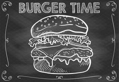 Chalkboard Burger Time Vector by Den Marty Studio on
