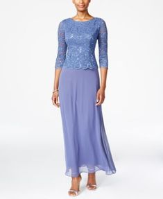 Alex Evenings Petite Three-Quarter-Sleeve Sequined Lace Gown $169.00 Alluring lace and sequins give this lovely petite gown from Alex Evenings endless charm with just a touch of sparkle that makes it special.