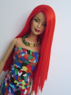 OOAK-Barbie-doll-re-root-reroot-red-hair-Birthstone-Mackie-face-b2k-body