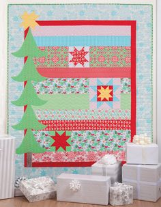 Spruced Up Christmas tree quilt by Cindy Lammon, from the book Simply Modern Christmas.
