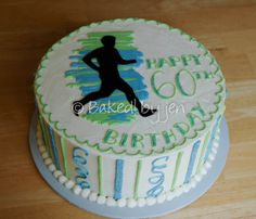 A birthday cake for a gentleman still running marathons. by jen 2014 60th Birthday Cakes, Happy Birthday Me, Running Cake, Cupcake Cakes, Cupcakes, Graduation Party Favors, Mom Cake, Cake Decorating Techniques, Party Snacks