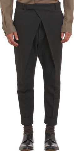 $1,250 HAIDER ACKERMANN - Drape Over Front Cropped Pants at Barney's