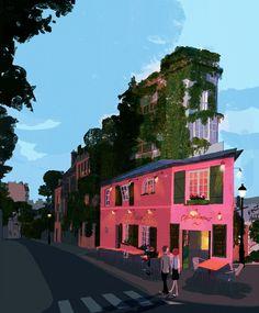 Paris Art Print by Tatsuro Kiuchi - X-Small Street Background, Concept Art World, Unusual Art, Color Studies, Visual Development, Beauty Art, Graphic Design Illustration, Framed Art Prints, Illustrators
