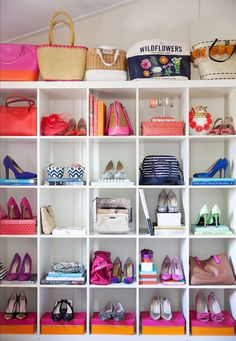 IKEA shelf idea: get a cheap heel from Payless and spray paint them the color of your choice