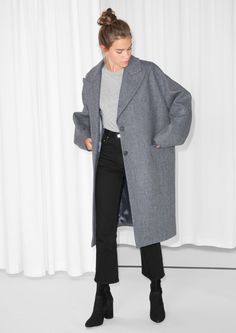 & Other Stories image 2 of Wool Blend Oversized Coat in Grey