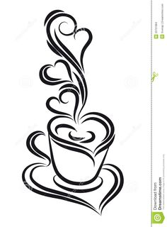 Dessin sur Tasse | More similar stock images of ` Black and white coffee cup . `