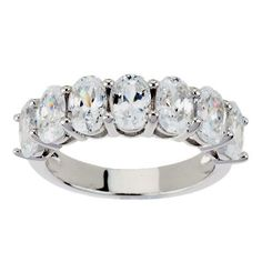 3.50 ct Man Made D/VVS1 Diamond 14k White Gold Over Oval Cut 7 Stone Band Ring #AffinityHomeShopping #Band