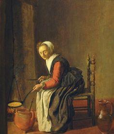Istorija blinov Quiringh van Brekelenkam De pannenkoekenbakster. 1645-50 гг.
