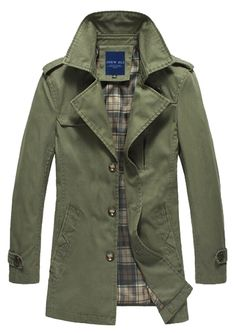 WantDo Men's Outercoat Jacket Solid Cotton Fashion at Amazon Men's Clothing store: Green Jacket Men