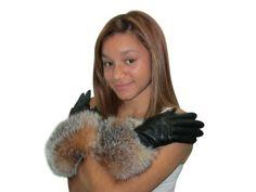 Amazon | CRYSTALキツネの毛皮とFursNewYorkカシミヤ並ぶラムスキンの革黒手袋は9トリム | 手袋 通販