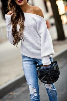 SEPTEMBER 14TH, 2017 BY MARIA 5 FALL STAPLES WORTH INVESTING IN - OUTFIT DETAILS: Jacqueline Off Shoulder Sweater L'Agence Slim Jeans  Alexandre Birman Double Bow Heels Cult Gaia Bag Saint Laurent Sunglasses