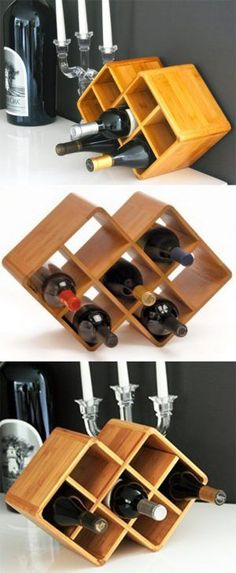 Double Cube 8 Bottle Bamboo Countertop Wine Rack