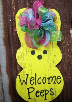 Peeps Door Hanger by WiredupbyMellie on Etsy, $40.00