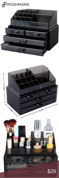 Makeup Organizer ✨ Makeup organizer with 4 drawers, it display with 15 top compartments, and 2 pieces set black UJMU04B - It Makes your cosmetics look tidy and looks great on your vanity -Hold at least 20 lipsticks, 10 brushes, 5 face powders, 5 mascaras, 5 eye liners, 2 large shadow palettes and other small everyday collection, tidy up your dresser -High quality material for long time use; Easy to clean by wet cloth or water - So get it honey SONGMICS