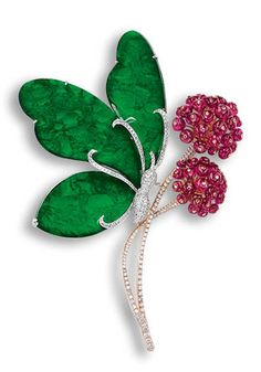 """Jadeite, Rubellite and Diamond """"Butterfly"""" Brooch, rubellite-set dandelion flowers, three translucent jadeite plaques of emerald green colour butterfly wings, circular-cut diamonds, the rubellites and diamonds together weighing approximately 22.25 and 2.05 carats respectively, mounted in 18-karat white and pink gold"""