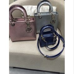 e5cde1a7d Dior Metallic Blue Perforated Lady Dior Micro Bag $2,350.00 (USD) Lady Dior,  Metallic