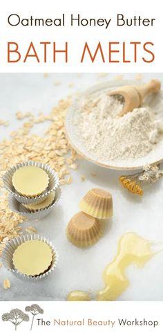 Oatmeal Honey Butter Bath Melts » Recipe & Tutorial Organic Bath Bombs, Natural Bath Bombs, Honey Butter, Cocoa Butter, Shea Butter, Bath Bomb Recipes, Soap Recipes, Vegan Recipes, Best Bath Bombs