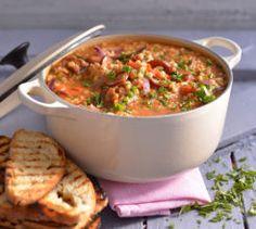 Chorizo and barley soup. Barley Soup, Chorizo, Mashed Potatoes, Macaroni And Cheese, Soups, Yummy Food, Warm, Ethnic Recipes, Smash Potatoes