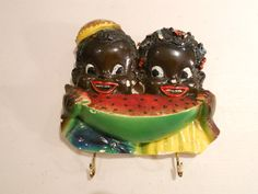 Vintage Black Americana Chalkware Boy Girl Eating Watermelon Hook Hanger | eBay