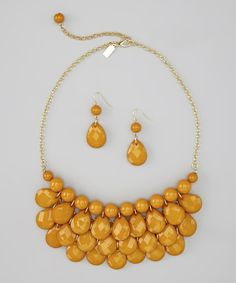 Mustard Yellow Water Drop Necklace & Earrings by Mindy Mae's Market on #zulily