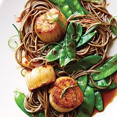 Soy-Citrus Scallops with Soba Noodles | CookingLight.com