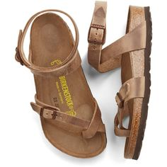 Birkenstock Boho Italian Summer Sandal (€105) ❤ liked on Polyvore featuring shoes, sandals, flats, slingback, tan, thong slingback, boho sandals, tan flats, t-strap flats and buckle strap sandals