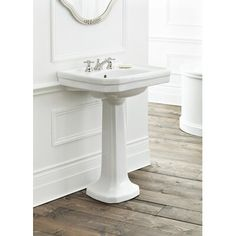 Cheviot Products Mayfair Vitreous China Rectangular Pedestal Bathroom Sink with Overflow Faucet Mount: Centers, Size: H x W x L Bathroom Sink Vanity, Bathroom Fixtures, Small Bathroom, Bathroom Ideas, Lavatory Faucet, Sink Faucets, Sink Inspiration, Kitchen Faucet With Sprayer, Mayfair