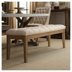 Add a touch of effortless elegance to your home with the Beechhurst Button Tufted Bench! The beautiful tufting this bench features sets it apart whereas the solid wood feet and sturdy wood construction ensure that this piece will easily endure years of use. Make a bold statement in your entryway, living room, or bedroom with this tufted bench! This handsome bench is ideal for your foyer, or place it in a nook or at the top of the stairs to complete the perfect look you are looking for…