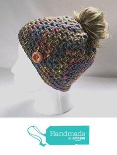 Handmade Messy Bun Hat Tweed Grey Beanie Wood Button Ponytail Holder Crochet Cloche from MoomettesMagnificents https://www.amazon.com/dp/B01N5LSAHZ/ref=hnd_sw_r_pi_dp_xDcEybGDA19WM #handmadeatamazon
