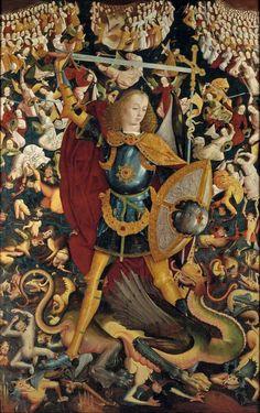 Anonymous, The Archangel Saint Michael, Ca. 1495, 242 cm x 153 cm, Museo del Prado, Madrid. Curiosità: Sebbene non si conosca il nome dell'esecutore del dipinto, l'anonimo pittore ci ha lasciato il suo ritratto al cavalletto riflesso nello scudo di S. Michele Arcangelo. Il ben definito auto-ritratto, è considerato unanimamente dalla critica, come il primo ritratto noto d'artista della pittura spagnola!