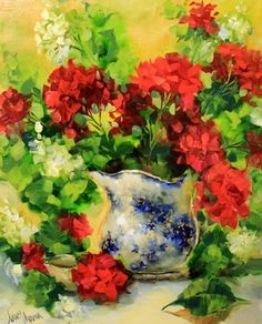 New Growth Geraniums by Texas Flower Artist Nancy Medina, painting by artist Nancy Medina
