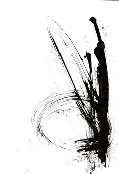 Original abstract ink drawing on paper A4. Movement / wind / time.