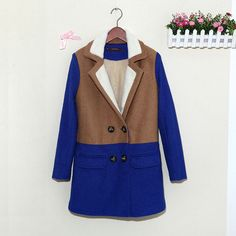 Lamb Wool Turn-down Collar Double Button Patchwork Mid-length Coat