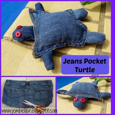 Creating my way to Success: Jeans Pocket Turtle - another clothes upcycle. Christmas Fabric Crafts, Pocket Craft, Crochet Turtle, Denim Crafts, Jean Crafts, Turtle Pattern, Baby Jeans, Sewing School, Dog Toys