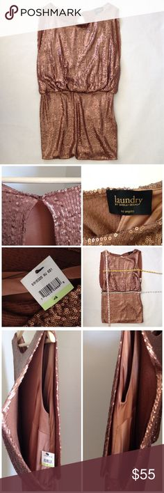 """CHINESE LAUNDRY NWT SEQUIN COPPER GOLD DRESS SZ 4 Perfect dress for New Year's!                                S I Z E: 4 F A B R I C C O N T E N T: SEQUINS. STRETCH LINER D E S C R I P T I O N: •ZIP CLOSURE AT SIDE •OPEN BACK WITH HOOK •VERY 1920'S STYLE  M E A S U R E M E N T S: (TAKEN LAYING FLAT, UNSTRETCHED) •BUST: 15.5"""" •WAIST: 16"""" •LENGTH: 30""""  C O N D I T I O N: NEVER WORN, BRAND NEW, EXCELLENT CONDITION. Chinese Laundry Dresses Mini"""