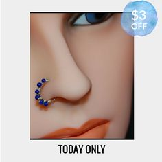 Today Only! $3 OFF this item.  Follow us on Pinterest to be the first to see our exciting Daily Deals. Today's Product: Sale -  Beaded Silver Nose Ring Wrapped with Lapis Buy now: http://www.rockyournose.com/products/beaded-silver-nose-ring-wrapped-with-lapis?utm_source=Pinterest&utm_medium=Orangetwig_Marketing&utm_campaign=Wrap%20Me