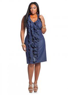 fa883c554a7b4 Ashley Stewart  Ruffle Halter Denim Plus Size Dress Denim Plus Size  Dresses