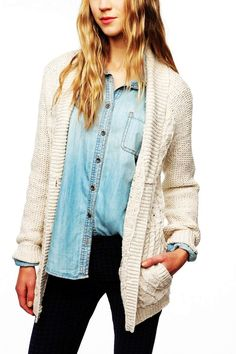 White Cable Knit Cardigan Sweater - Mixed Stitch Cable Knit Cardigan Sweater