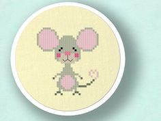 Cute Mouse. Cross Stitch PDF Pattern por andwabisabi en Etsy