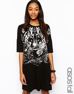ASOS TALL T-Shirt Dress With Baby Tiger Print