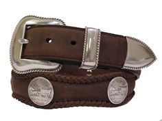 Impress your friends, co-workers and family with this very stylish and sharp looking Oregon Trail Western Coin Concho Leather Belt.