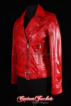 £130 - Ladies chelsea girl red washed lambskin leather slim fitted motorcycle biker style blouson jacket
