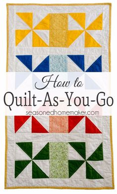 The quilt as you go technique (QAYG) simplifies quilting for beginners because it is an easy way to join quilted pieces by machine. Instead of handling bulky quilts, you will learn to quilt your project as you piece it. Quilt-as-you-go is ideal for machin Beginner Quilt Patterns, Quilting For Beginners, Quilt Block Patterns, Quilting Tips, Quilting Tutorials, Hand Quilting, Machine Quilting, Quilting Projects, Quilting Designs