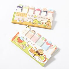 Keep track of whatever you need using these sticky notes! Whether it's a particular page or a particular line, these are sure to help you remember whatever you need, making them great for work and studying alike.  Available in Homemade Sushi Party and Sushi Costume Party versions, both feature the cute characters in San-X's Sumikko Gurashi series from their Sushi Party line! The different styles...
