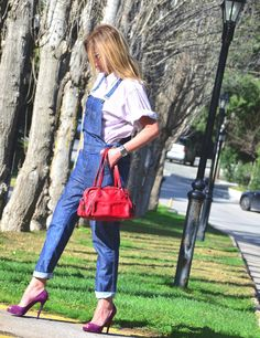 Street Style- Denim Dungaree and Louboutins