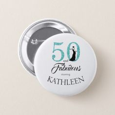 Blue 50 and Fabulous Birthday Party Custom Name Pinback Button - glitter gifts personalize gift ideas unique